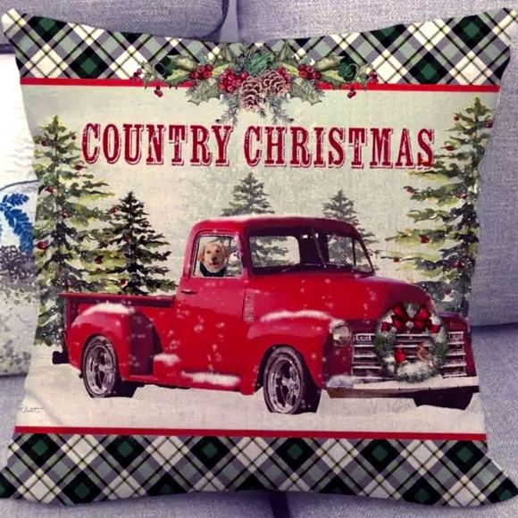 Christmas Red Truck.Pillow Cover New Country Christmas Red Truck Nwt